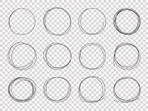 Κύκλοι σκίτσων Συρμένα χέρι πλαίσια Κυκλικό διάνυσμα κτυπήματος μολυβιών κακογραφίας doodle μαύρο που απομονώνεται απεικόνιση αποθεμάτων
