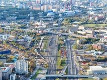 Κύκλος δρόμων και σιδηροδρόμων στα βορειοδυτικά της Μόσχας στοκ εικόνα με δικαίωμα ελεύθερης χρήσης