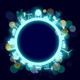 Κύκλος με τις σχετικές σκιαγραφίες βιομηχανίας Στοκ Φωτογραφία