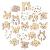 Κύκλος με το σύνολο διάφορων χαριτωμένων προσώπων σκυλιών συρμένος εικονογράφος απεικόνισης χεριών ξυλάνθρακα βουρτσών ο σχέδιο ό Στοκ Φωτογραφία
