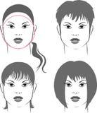 κύκλος προσώπου hairstyles Στοκ φωτογραφία με δικαίωμα ελεύθερης χρήσης
