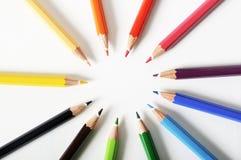 Κύκλος των χρωματισμένων μολυβιών Στοκ φωτογραφία με δικαίωμα ελεύθερης χρήσης