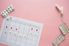 Κύκλος ωογένεσης, έννοια Ημερολόγιο για έναν μήνα, το δείκτη της ωογένεσης και τον εμμηνορροϊκό κύκλο στοκ φωτογραφία με δικαίωμα ελεύθερης χρήσης