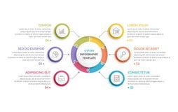 Κύκλος Infographics - έξι στοιχεία Στοκ εικόνες με δικαίωμα ελεύθερης χρήσης