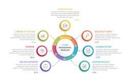 Κύκλος Infographics - επτά στοιχεία Στοκ φωτογραφία με δικαίωμα ελεύθερης χρήσης