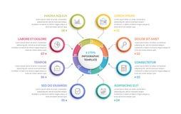 Κύκλος Infographics - οκτώ στοιχεία Στοκ Εικόνες