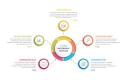 Κύκλος Infographics - πέντε στοιχεία Στοκ φωτογραφίες με δικαίωμα ελεύθερης χρήσης