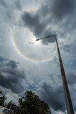 Κύκλοι κύκλων θαύματος γύρω από τον ήλιο το απόγευμα στην Ταϊλάνδη Στοκ Εικόνα