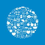 Κύκλος με τα εικονίδια ικανότητας και υγείας Στοκ Εικόνες