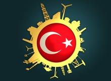 Κύκλος με τις σχετικές σκιαγραφίες βιομηχανίας διαθέσιμο διάνυσμα της Τουρκίας ύφους γυαλιού σημαιών Στοκ φωτογραφία με δικαίωμα ελεύθερης χρήσης