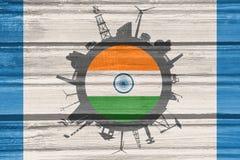 Κύκλος με τις σχετικές σκιαγραφίες βιομηχανίας διαθέσιμο διάνυσμα ύφους της Ινδίας γυαλιού σημαιών Στοκ φωτογραφίες με δικαίωμα ελεύθερης χρήσης