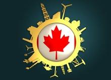 Κύκλος με τις σχετικές σκιαγραφίες βιομηχανίας διαθέσιμο διάνυσμα ύφους γυαλιού σημαιών του Καναδά Στοκ Φωτογραφίες