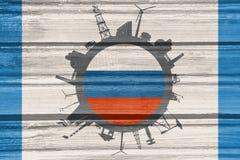 Κύκλος με τις σχετικές σκιαγραφίες βιομηχανίας διαθέσιμο διάνυσμα ύφους της Ρωσίας γυαλιού σημαιών Στοκ Εικόνα