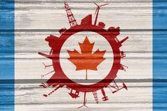 Κύκλος με τις σχετικές σκιαγραφίες βιομηχανίας διαθέσιμο διάνυσμα ύφους γυαλιού σημαιών του Καναδά Στοκ εικόνες με δικαίωμα ελεύθερης χρήσης