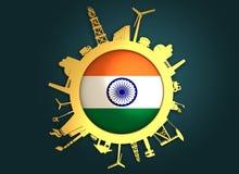 Κύκλος με τις σχετικές σκιαγραφίες βιομηχανίας διαθέσιμο διάνυσμα ύφους της Ινδίας γυαλιού σημαιών Στοκ Φωτογραφίες