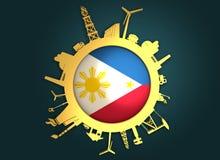 Κύκλος με τις σχετικές σκιαγραφίες βιομηχανίας διαθέσιμο διάνυσμα ύφους των Φιλιππινών γυαλιού σημαιών Στοκ φωτογραφία με δικαίωμα ελεύθερης χρήσης