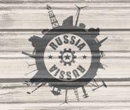 Κύκλος με τις σχετικές σκιαγραφίες βιομηχανίας Κείμενο της Ρωσίας Στοκ φωτογραφία με δικαίωμα ελεύθερης χρήσης