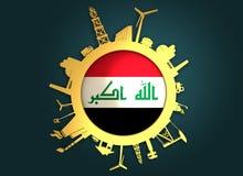 Κύκλος με τις σχετικές σκιαγραφίες βιομηχανίας σημαία Ιράκ Στοκ εικόνα με δικαίωμα ελεύθερης χρήσης