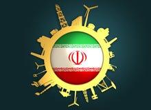 Κύκλος με τις σχετικές σκιαγραφίες βιομηχανίας σημαία Ιράν Στοκ φωτογραφίες με δικαίωμα ελεύθερης χρήσης