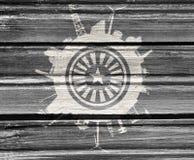 Κύκλος με τις σχετικές σκιαγραφίες βιομηχανίας Στοκ φωτογραφίες με δικαίωμα ελεύθερης χρήσης