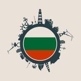 Κύκλος με τις σχετικές σκιαγραφίες λιμένων και ταξιδιού φορτίου διαθέσιμο διάνυσμα ύφους γυαλιού σημαιών της Βουλγαρίας Στοκ Εικόνα