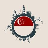 Κύκλος με τις σχετικές σκιαγραφίες λιμένων και ταξιδιού φορτίου διαθέσιμο διάνυσμα ύφους Σινγκαπούρης γυαλιού σημαιών Στοκ Φωτογραφίες