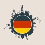 Κύκλος με τις σχετικές σκιαγραφίες λιμένων και ταξιδιού φορτίου διαθέσιμο διάνυσμα ύφους γυαλιού της Γερμανίας σημαιών Στοκ Εικόνες