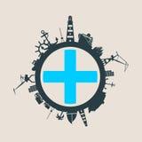 Κύκλος με τις σχετικές σκιαγραφίες λιμένων και ταξιδιού φορτίου Σημαία της Μασσαλίας Στοκ φωτογραφίες με δικαίωμα ελεύθερης χρήσης
