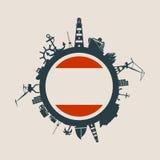 Κύκλος με τις σχετικές σκιαγραφίες λιμένων και ταξιδιού φορτίου Σημαία της Αμβέρσας Στοκ Εικόνα
