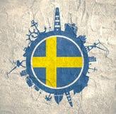 Κύκλος με τις σχετικές σκιαγραφίες λιμένων και ταξιδιού φορτίου διαθέσιμο διάνυσμα της Σουηδίας ύφους γυαλιού σημαιών Στοκ Φωτογραφίες
