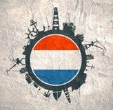 Κύκλος με τις σχετικές σκιαγραφίες λιμένων και ταξιδιού φορτίου διαθέσιμο διάνυσμα ολλανδικού ύφους γυαλιού σημαιών Στοκ φωτογραφία με δικαίωμα ελεύθερης χρήσης