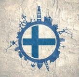 Κύκλος με τις σχετικές σκιαγραφίες λιμένων και ταξιδιού φορτίου διαθέσιμο διάνυσμα ύφους γυαλιού σημαιών της Φινλανδίας Στοκ εικόνα με δικαίωμα ελεύθερης χρήσης