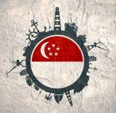 Κύκλος με τις σχετικές σκιαγραφίες λιμένων και ταξιδιού φορτίου διαθέσιμο διάνυσμα ύφους Σινγκαπούρης γυαλιού σημαιών Στοκ φωτογραφία με δικαίωμα ελεύθερης χρήσης