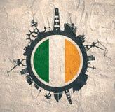 Κύκλος με τις σχετικές σκιαγραφίες λιμένων και ταξιδιού φορτίου διαθέσιμο διάνυσμα ύφους της Ιρλανδίας γυαλιού σημαιών Στοκ Εικόνες