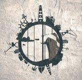Κύκλος με τις σχετικές σκιαγραφίες λιμένων και ταξιδιού φορτίου Στοκ φωτογραφία με δικαίωμα ελεύθερης χρήσης