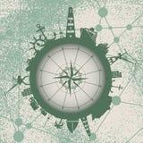 Κύκλος με τις σχετικές σκιαγραφίες λιμένων και ταξιδιού φορτίου Στοκ εικόνα με δικαίωμα ελεύθερης χρήσης