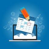 Κύκλος σημαδιών το σε απευθείας σύνδεση lap-top προγραμματισμού σύννεφων ημερολογιακών ημερήσιων διατάξεών σας απεικόνιση αποθεμάτων