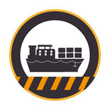 Κύκλος σκιαγραφιών χρώματος με τις γραμμές προειδοποίησης με το σκάφος με τα εμπορευματοκιβώτια απεικόνιση αποθεμάτων