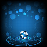 Κύκλος τεχνολογίας και διανυσματικό σχέδιο γήινων σφαιρών στο μπλε υπόβαθρο Στοκ Εικόνες