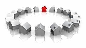 Κύκλος φιαγμένος από μονοπωλιακά σπίτια που γυρίζουν γύρω διανυσματική απεικόνιση