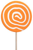 Κύκλος lollipop με τους πορτοκαλιούς και άσπρους στροβίλους Στοκ φωτογραφίες με δικαίωμα ελεύθερης χρήσης