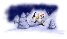 Κύλισμα χειμερινών σκιέρ απεικόνιση αποθεμάτων