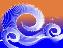 κύματα γλάρων διανυσματική απεικόνιση