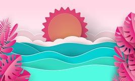 Κύματα θάλασσας και τροπική παραλία στο ύφος τέχνης εγγράφου διανυσματική απεικόνιση έννοιας ταξιδιού Αφίσα θερινών διακοπών στην απεικόνιση αποθεμάτων