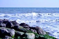 Κύματα θάλασσας που έρχονται προς τους βράχους με τα άλγη Στοκ Φωτογραφίες