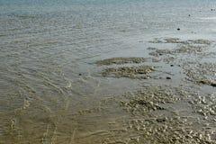 Κύματα θάλασσας στην ακροθαλασσιά στην αμμώδη παραλία Στοκ Εικόνα