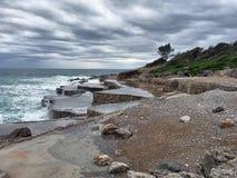 κύματα θύελλας θάλασσας κάλυψης coas Στοκ Εικόνες