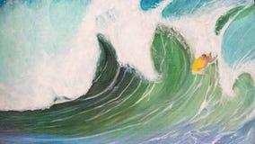 Κύματα και ελαιογραφία σερφ διανυσματική απεικόνιση