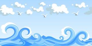 Κύματα και σύννεφα θάλασσας. οριζόντιο άνευ ραφής τοπίο. απεικόνιση αποθεμάτων