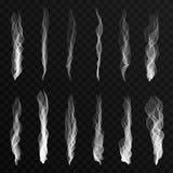 Κύματα καπνού που τίθενται στο διαφανές υπόβαθρο Κύματα καπνού τσιγάρων, καυτός ατμός, υδρονέφωση διανυσματική απεικόνιση